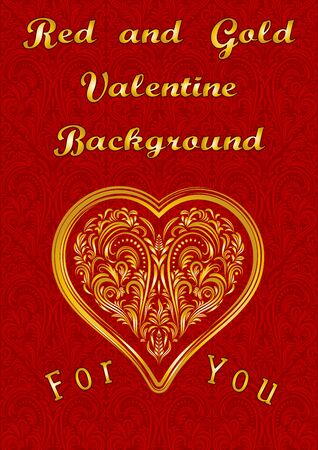 cordial: Valentine Holiday Background, Golden Heart with Vintage Pattern on Red Floral Ornament. Vector Illustration