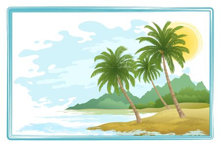 sky sun: Tropical Sea Landscape, Green Exotic Palm Trees, Sky with Clouds and Sun. Eps10, Contains Transparencies. Vector