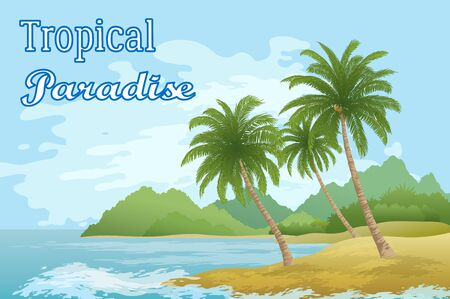 Tropical Sea Landscape, Beach, Green Exotic Palm Trees, Island with Mountains and Sky with Clouds.