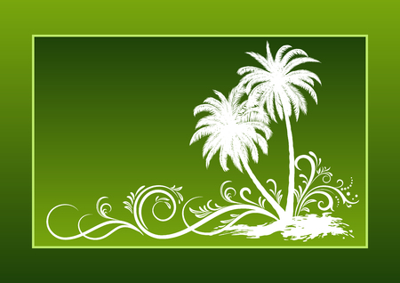 yellow landscape: Tropical Landscape, Palms Trees And Grass Brown Silhouettes on a Yellow Background with Frame of Blots.