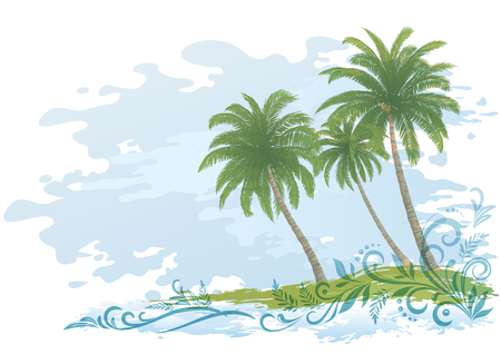 palm trees: Exotic Landscape, Green Tropical Palms Trees and Floral Pattern on Blue and White Background.