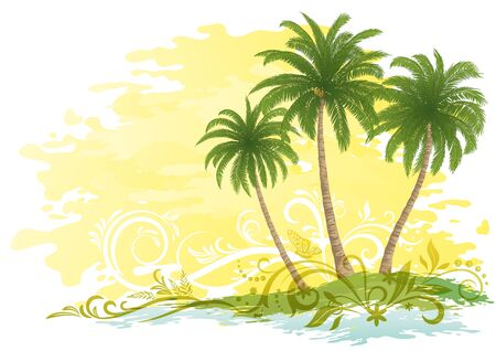 yellow landscape: Exotic Landscape, Green Tropical Palms Trees and Floral Pattern on Yellow and White Background. Illustration