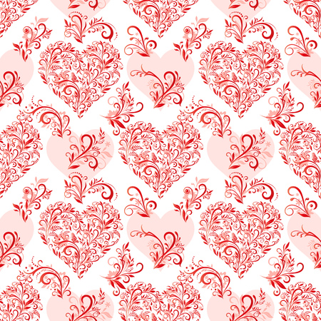 Seamless Background, Valentine Holiday Hearts with Floral Pattern, Leafs and Butterflies, Red Contours and Silhouettes.