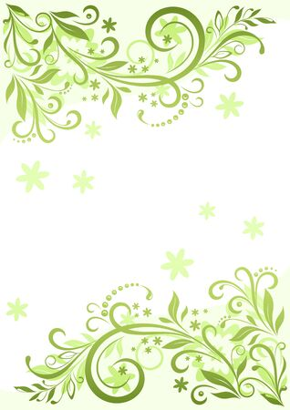 symbolical: Background with Floral Pattern, Symbolical Green Leaves and Flowers Silhouette. Illustration