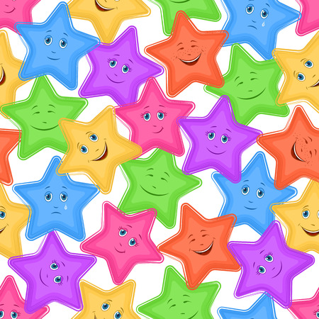 Seamless Pattern for Childish and Holiday Design, Colorful Cartoon Stars Smiley with Different Emotions on White Background.