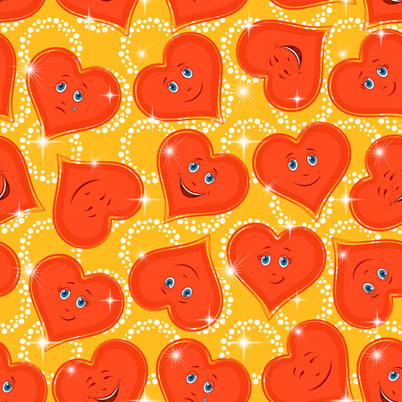 cordial: Seamless Valentine Holiday Pattern, Red Cartoon Hearts, Faces with Different Emotions, Funny and Sad, Laughing and Weeping on Abstract Background. Illustration