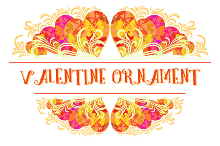 cordial: Holiday Background, Decorative Frame of Valentine Hearts with Abstract Floral Pattern and Butterflies Silhouettes.