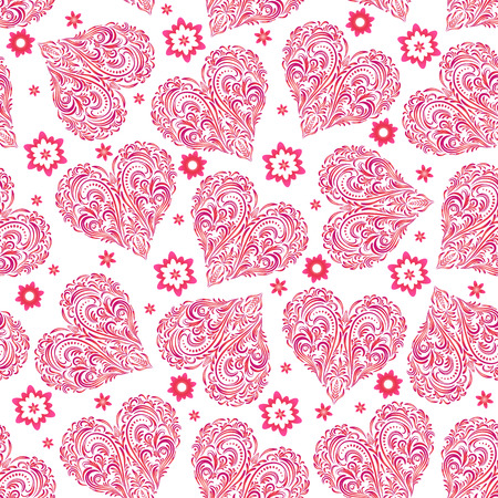 Seamless Background, Valentine Holiday Hearts with Floral Pattern of Pink Symbolical Flowers and Plants.