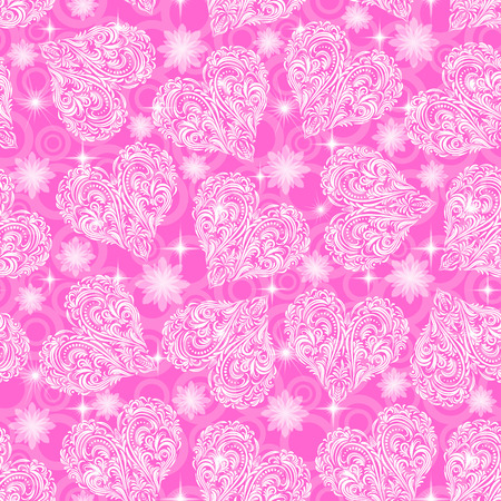 symbolical: Seamless Pink Background, Valentine Holiday Hearts with Tile Pattern of White Symbolical Flowers, Plants, Stars and Rings.