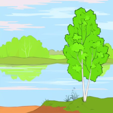 summer trees: Summer Landscape, Trees, River, Flower and Blue Sky with White Clouds, Low Poly. Illustration