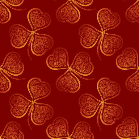 trifolium: Seamless Tile Pattern, Symbolic Clover Plants with Leaves of Contour Golden Valentine Holiday Hearts on Red Background. Illustration