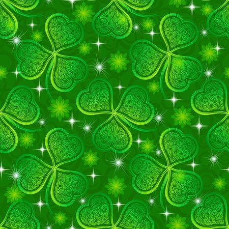 trifolium: Seamless Floral Tile Pattern, Green Symbolic Clover Plants, Flowers and Stars. Illustration