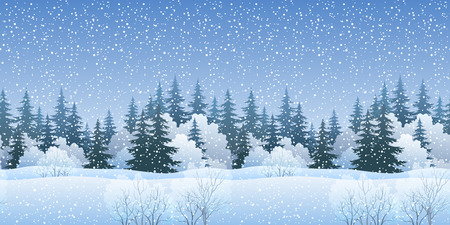 bushes: Christmas Holiday Seamless Horizontal Background, Winter Landscape, Fir Trees Silhouettes, Bushes and White Snow.