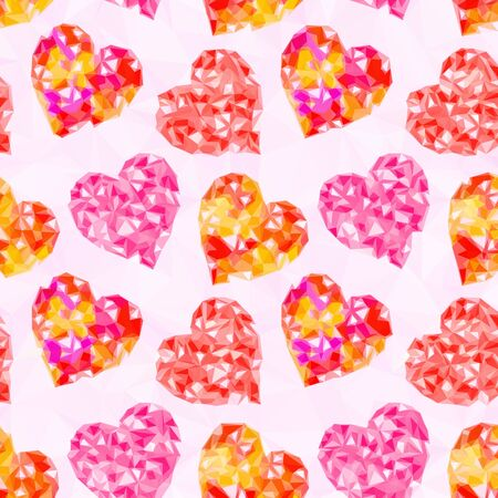 cardia: Valentine Holiday Background with Color Hearts, Low Poly Abstract Pattern, Colorful Polygonal Background.