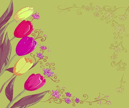 symbolical: Floral Background with Tulips and Symbolical Contour Flowers Stock Photo