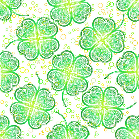 patrick: Seamless Saint Patrick Holiday Floral Tile Pattern, Green Symbolic Clover Plants and Rings. Vector Illustration