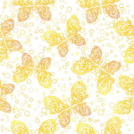 symbolical: Seamless Background, Tile Patterns of Golden Symbolical Outline Butterflies and Rings. Vector