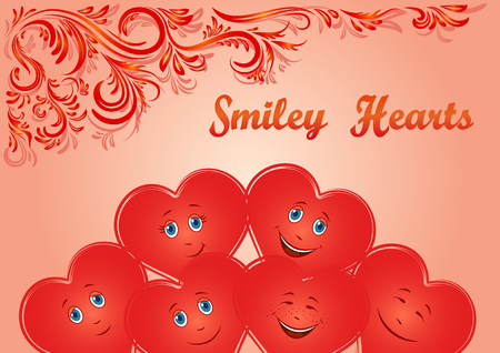 cardia: Valentine Holiday Background, Red Cartoon Smiley Faces Hearts and Floral Contour Ornament. Vector
