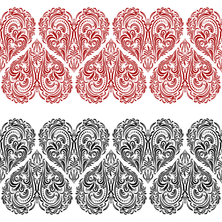 cordial: Seamless Background, Valentine Holiday Hearts with Floral Pattern, Black and Red Isolated Contours. Vector