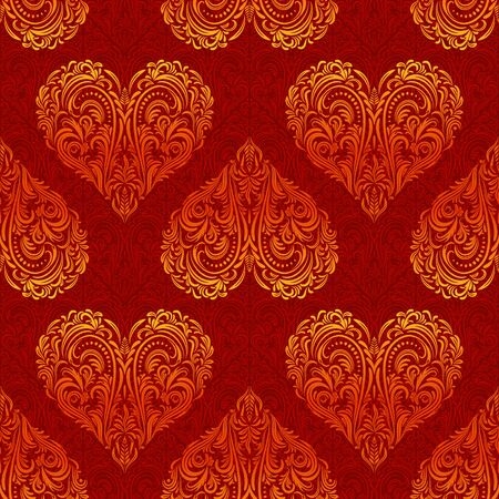 symbolical: Seamless Background, Valentine Holiday Hearts with Red and Golden Floral Pattern of Symbolical Plants. Vector