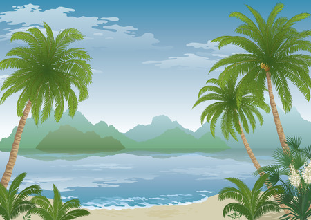 transparencies: Tropical Landscape, Palm Tree on Ocean Beach, Yucca Flowers, Mountains and Clouds. Eps10, Contains Transparencies. Vector