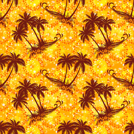 evergreen: Exotic Seamless Pattern, Tropical Landscape, Palms Trees Silhouettes on Abstract Tile Background with Rings and Flowers. Eps10, Contains Transparencies. Vector