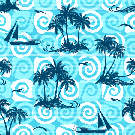Exotic Seamless Pattern, Tropical Ocean Landscape, Islands with Palms Trees, Ships Sailing and Birds Seagulls Silhouettes on Abstract Tile Background with Spirals and Lines. Illustration