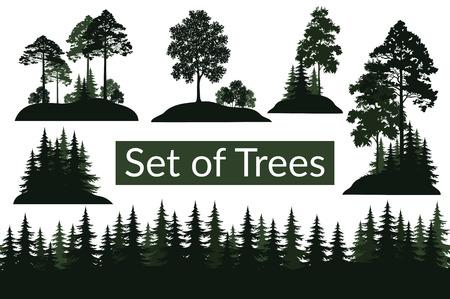 Set isolato su sfondo bianco Paesaggi, Coniferi verdi e alberi decidui e cespugli Sagome, abete, pino, acero, acacia, lilla. Vettore