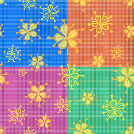 symbolical: Seamless Floral Background, Tile Pattern of Symbolical Flowers and Colorful Checks. Eps10, Contains Transparencies. Vector