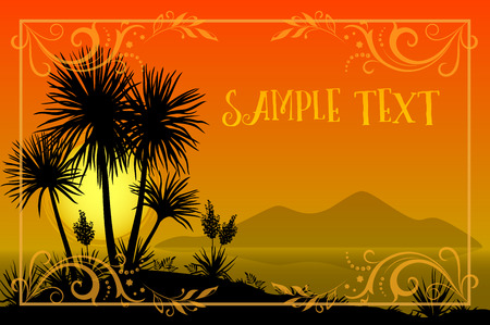 sun flowers: Exotic Landscape, Tropical Palms Trees and Yucca Flowers Silhouettes, Sun and Gold Frame with Floral Pattern on a Background of the Morning Sea and Mountains. Eps10, Contains Transparencies. Vector