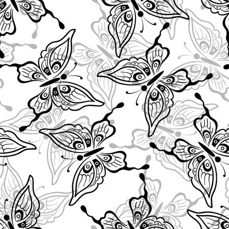 symbolical: Seamless Pattern, Symbolical Butterflies Black and Grey Contours on Tile White Background. Illustration