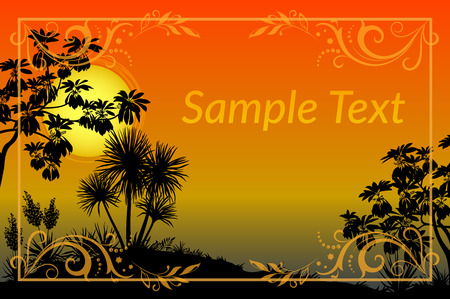 plants and trees: Exotic Landscape, Tropical Plants, Trees and Flowers Silhouettes, Sun and Gold Frame with Floral Pattern. Eps10, Contains Transparencies. Vector