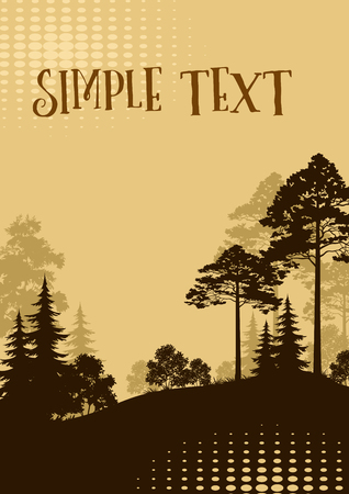 Forest Landscape, Fir Trees, Pine and Bushes Black and Brown Silhouettes and Place for Your Text. Vector Illusztráció