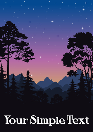 foliage  natural: Night Landscape, Mountains and Forest, Fir, Pine, Maple Black Silhouettes and Sky with Stars. Vector