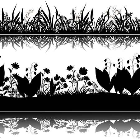 abloom: Horizontal Seamless Pattern, Summer Landscape, Flowers and Grass Black Silhouettes and Reflection in Water or Shadow, Isolated on White Background. Vector Illustration