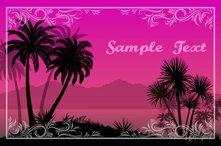 Exotic Landscape, Tropical Palms Trees, Plants and Flowers Silhouettes and Frame with Floral Pattern on a Background of the Morning Sea and Mountains. Eps10, Contains Transparencies. Vector Illustration