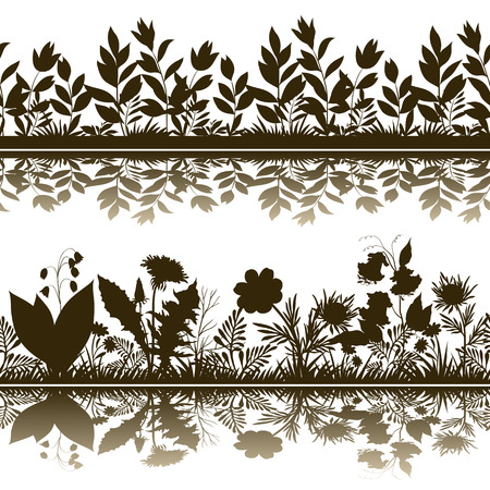 abloom: Horizontal Seamless Pattern, Summer and Spring Landscape, Flowers and Grass Silhouettes and Reflection in Water or Shadow, Isolated on White Background. Vector Illustration