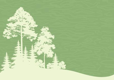숲 풍경, 구과 맺는 낙 엽 나무 실루엣 녹색 배경. 벡터 일러스트