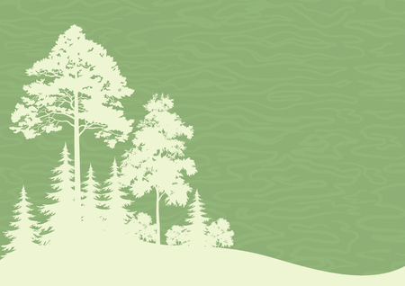 Forest Landscape, Coniferous and Deciduous Trees Silhouettes on Green Background. Vector Stock Vector - 80835133