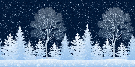 newyear: Seamless Horizontal Winter Christmas Night Woodland Landscape with Coniferous Trees and Snowflakes. Eps10, Contains Transparencies. Vector Illustration