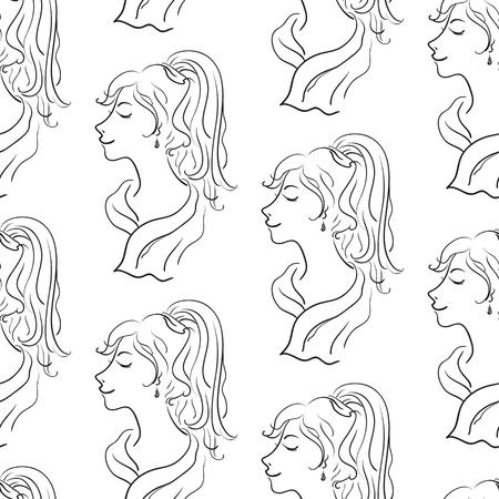 Young women seamless pattern