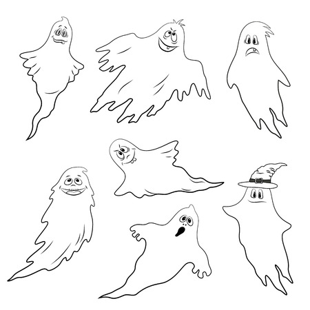 Set for Holiday Halloween Design, Flying Ghosts, Cartoon Character with Different Emotions, Black Contours Isolated on White Background. Vector Stock Photo
