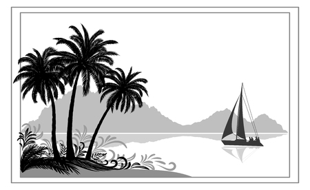 Exotic Sea Landscape, Tropical Palms Trees and Floral Pattern, Sailboat Ship, Mountains.