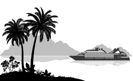 Exotic Sea Landscape, Tropical Palms Trees and Plants, Ship Passenger Liner, Mountains, Black and Grey Silhouettes on White Background. Vector Illustration