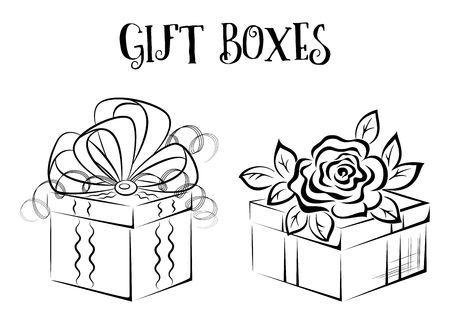 abloom: Holiday Gift Boxes with Bow and Rose Flower, Black Contours Isolated on White Illustration