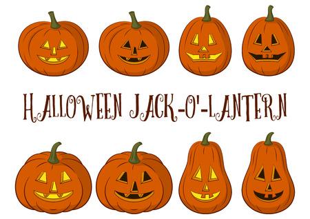 terribly: Holiday Halloween Symbols, Cartoons Pumpkins Jack O Lantern Set Isolated on White Background. Vector