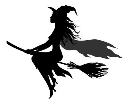 Wiedźma latająca na miotle wektor