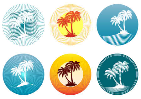 Tropical Landscape with Palms Trees Silhouettes on Background with Circle. Icons, Logo or Labels. Vector