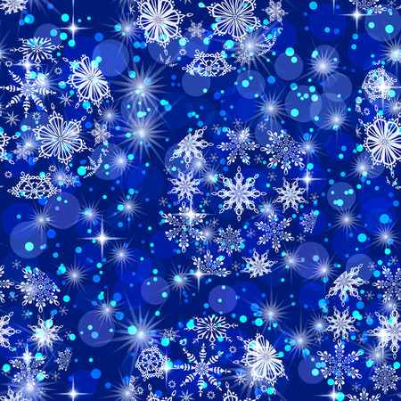 Christmas Seamless Background for Holiday Design with Blue and White Balls, Snowflakes and Stars. Eps10, Contains Transparencies. Vector