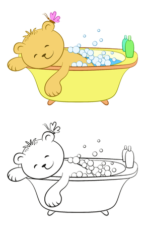 Cartoon Teddy Bear Washes in the Bath, Soap Bubbles, Shampoo, on the Ear - Butterfly. Color Version and Black Contours Isolated on White Background. Vector